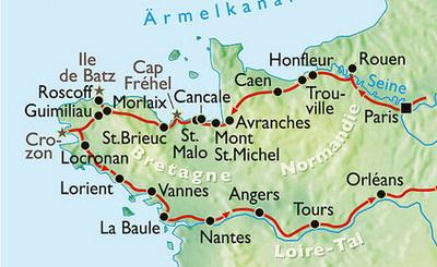 Карта Нормандии и Бретани, bottenschein.de