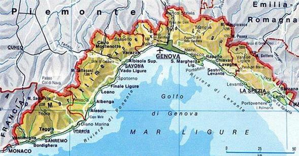 Карта Итальянской Ривьеры