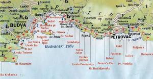 Карта курортов Черногории