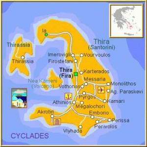 Архипелаг Санторини на карте