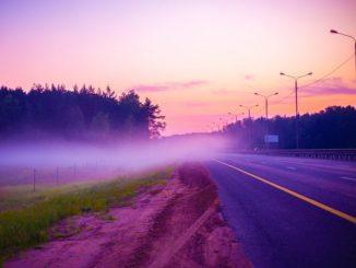 Утренняя дорога, туман
