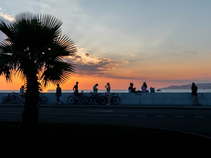 Закат на Черном море, Сочи весной