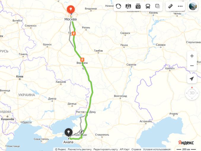 Маршрут Москва-Анапа на машине на карте